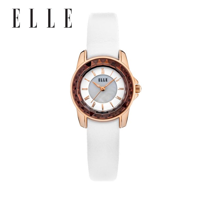 法国ELLE玫瑰金&白色时尚女士腕表EL20271S02N